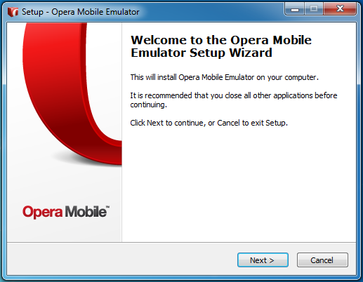Opera Mobile Emulator Installation Wizard Step 1