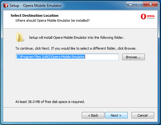 Opera Mobile Emulator Installation Wizard Step 2