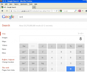 Google search results with Embedded Calculator in the same